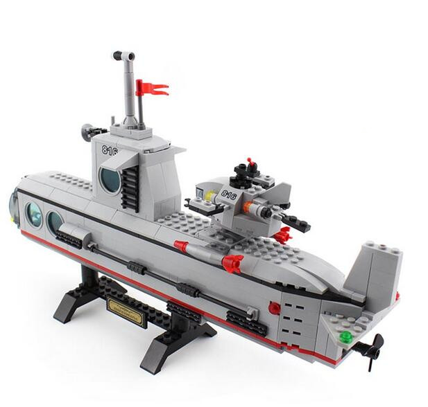 ENLIGHTEN Model building kit compatible with lego military submar 3D blocks Educational model building toys hobbies for children lepin 02012 city deepwater exploration vessel 60095 building blocks policeman toys children compatible with lego gift kid sets
