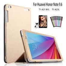 Para Huawei Mediapad T1 10 fashion PU funda de piel Para Huawei Honor de Nota 9.6 T1-A21W T1 10 T1-A21L T1-A23L Pantalla de la cubierta + + pluma de la película