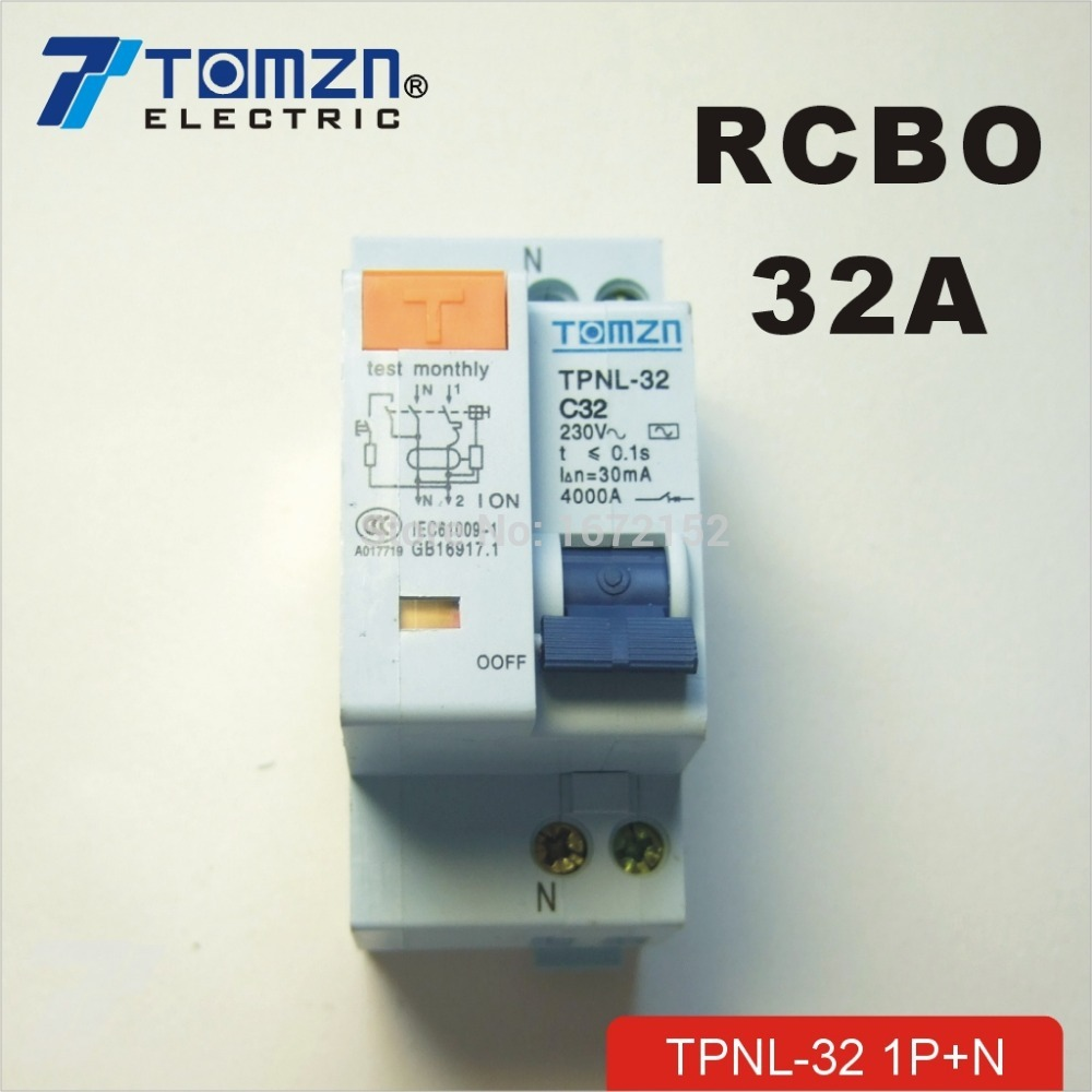 DPNL 1P+N 32A 230V~ 50HZ/60HZ Residual current Circuit breaker with over current and Leakage protection RCBODPNL 1P+N 32A 230V~ 50HZ/60HZ Residual current Circuit breaker with over current and Leakage protection RCBO