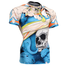 2016  running sports t shirt skulls fitness tops men base layer Newest men thermal muscle bodybuilding gym compression tights