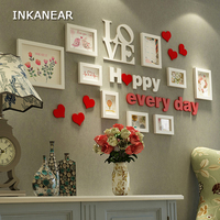 Solid Wood Painting for Home Decor Living Room Love Heart Wedding Fashion Gallery Picture Photo Frame Set Wall Decoration
