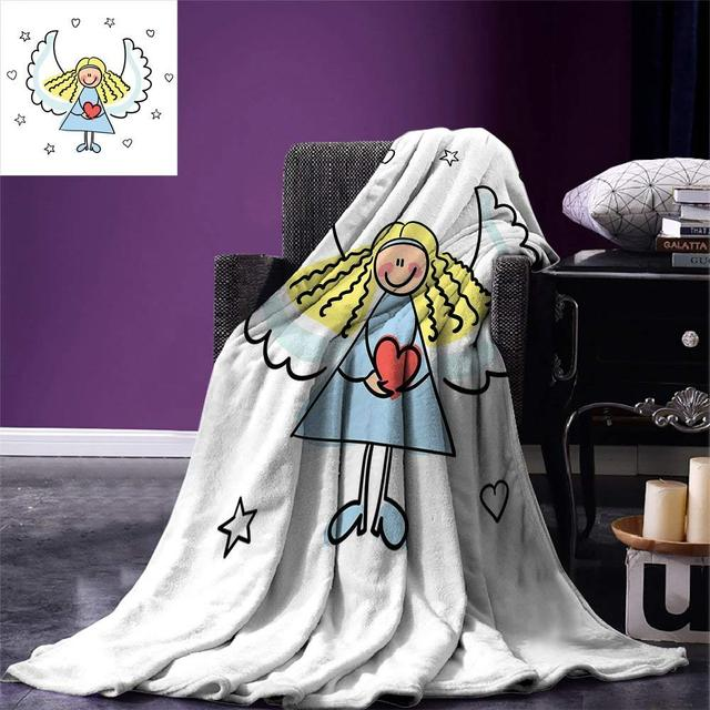 Christmas Blanket Cute Little Girl with Wings Red Heart Stars Angel Blessing Heaven Holiday Warm Adults  Blanket