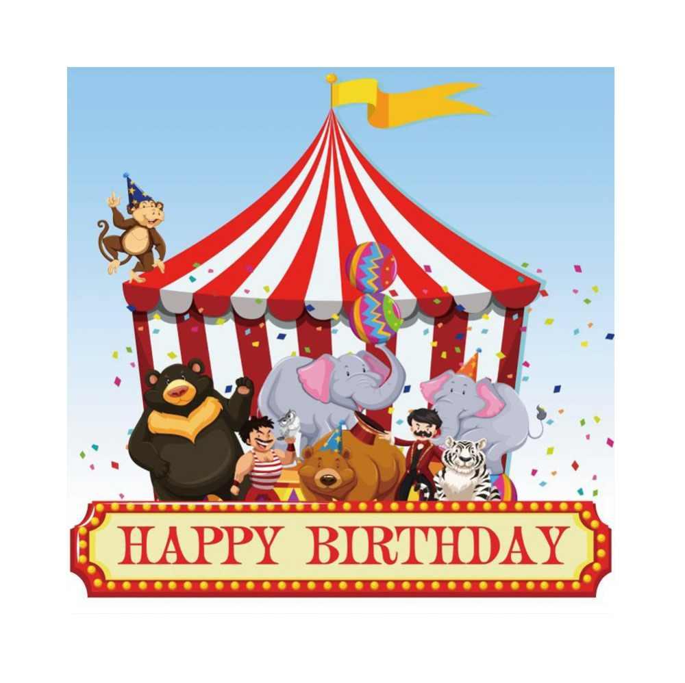 Laeacco Cruzeiro Tenda de Circo Dos Desenhos Animados Figuras de Animais Do Bebê de Aniversário Fotografia Photocall Fundos Foto Backdrops Photo Studio