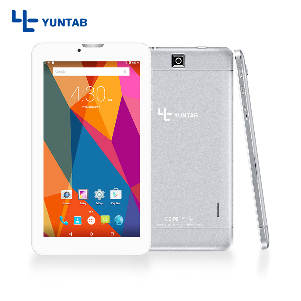 YUNTAB 7inch E706 silver alloy Android Tablet PC Quad Core 1GB + 8GB touch screen 1024x600 Dual Camera Support Sim Card yuntab 7 inch q88 allwinner a33 quad core 512mb 8gb android 4 4 kids tablet pc hd screen dual camera