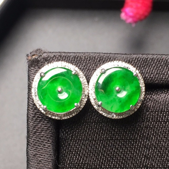 Fine Jewelry Collection Real 18k Yellow Gold Au750 100 Natural Green Jade Gemstone Myanmer Origin