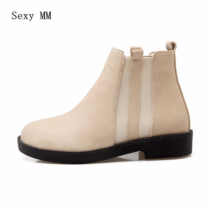 Spring Autumn Winter Women Ankle Boots Flat Casual Woman Short Boots High Quality Plus Size 34-40,41,42,43 botas femininas botte