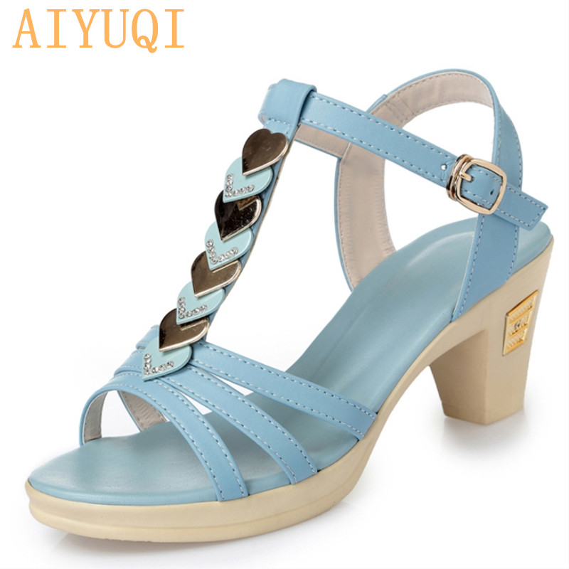 AIYUQI Women sandals summer 2019 fashion open toe high heel women sandals Rome comfortable breathable fish mouth shoes female in High Heels from Shoes