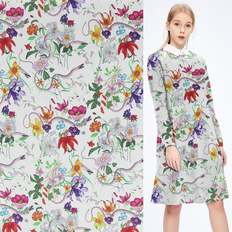 Digital print pure silk Crepe DE chine fabric floral and snake design,SCDC868 Сумка