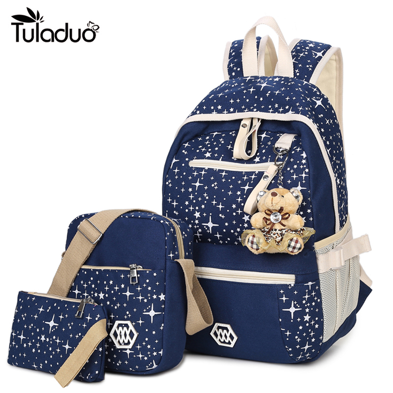School Bag Printing Canvas Backpack Set With Bear Children School Bags For Girls Cute Backpacks For Teenagers Mochila Feminina