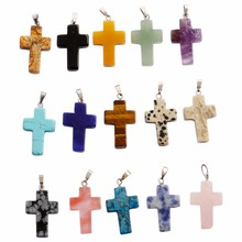 Natural Stone Cross Pendants Women Gift 18*25mm Wholesale 50pcs/Lot Crystal Necklace  For  Jewelry Making Free Shipping