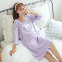 Купить с кэшбэком 2019 New Maternity Pajamas Sleepwear Nursing Pregnant Pajamas Mothers Breast Feeding Nightdress Maternity Night Dress