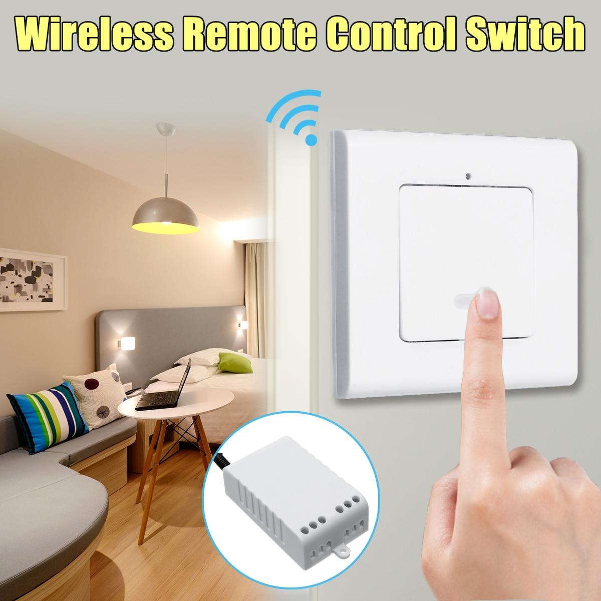 цена на 1 Way Wall Lamp Wireless Remote Control ON/OFF Light Switch + Receiver AC220V