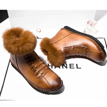 2017 superstar Rome genuine leather plush women snow boots plus size 35-40 winter warm shoes round toe zip ankle boots