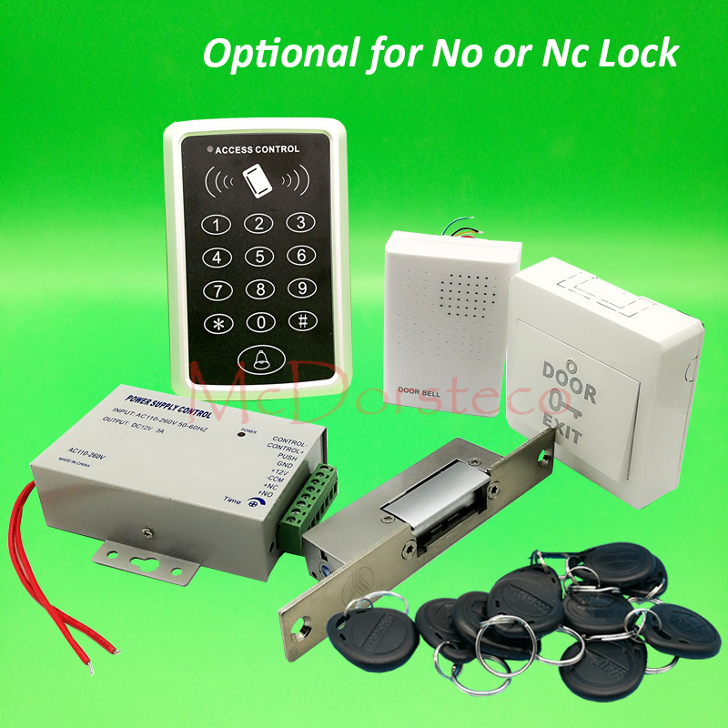 125khz Rfid Card Door Access Control kit Full Door Access Kit Yli YS131 No Nc Narrow tyep electric strike lock + Power Supply diysecur magnetic lock door lock 125khz rfid password keypad access control system security kit for home office