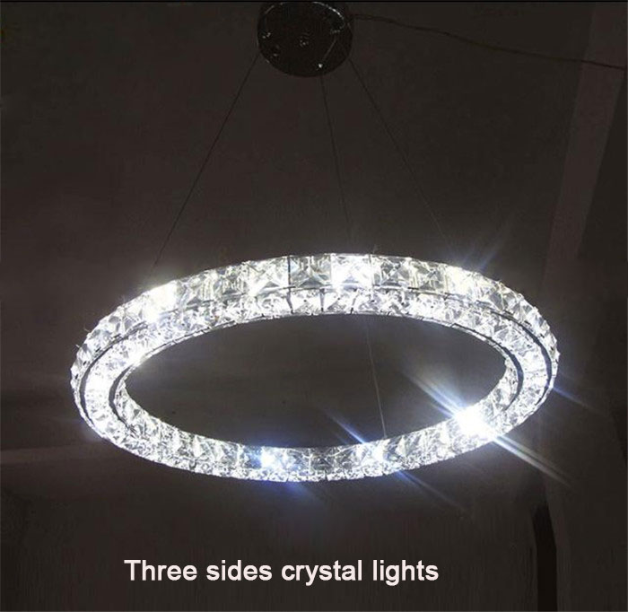 Ring lamp LED chandelier lighting lustres three sides LED lights modern home Circle diamond art single led hanging fixtures tiffany mediterranean style peacock natural shell ceiling lights lustres night light led lamp floor bar home lighting