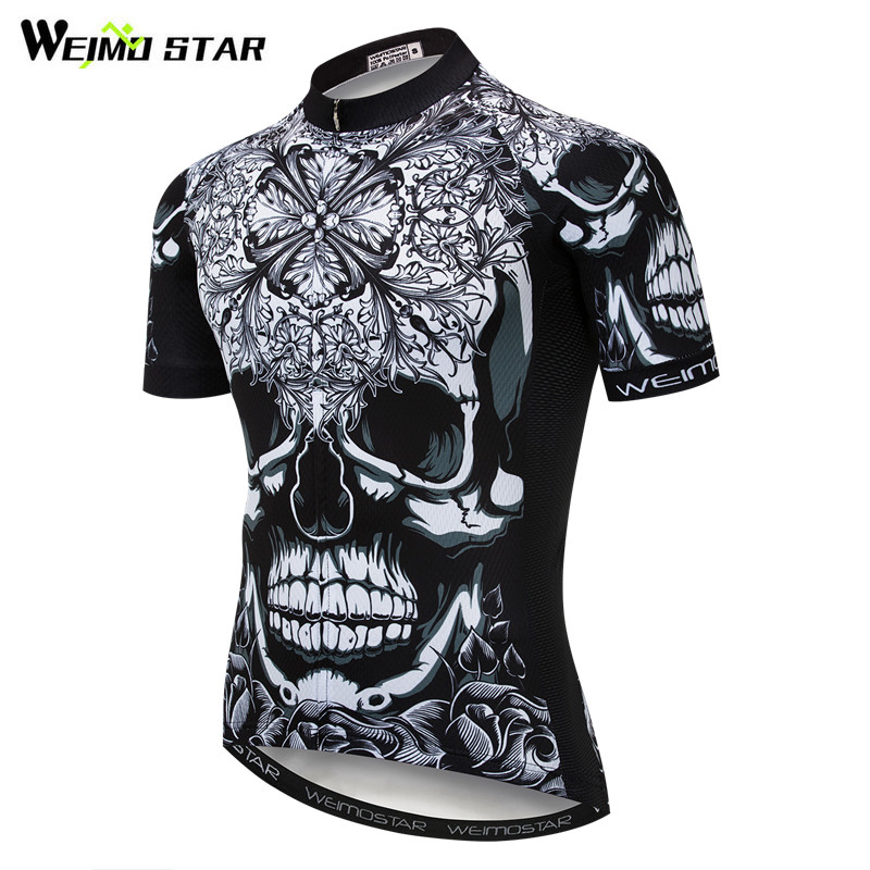Weimostar Skull Style Cycling Jersey Shirt Black Men Summer Short Sleeve Cycling Clothing Quick Dry MTB Bike Jersey Bicycle Wear