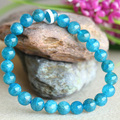 Discount Wholesale Natural Green Blue Apatite Crystal Men's Stretch Finish Bracelet Round Beads 7.5mm 03808
