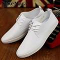 Spring And Autumn New Brand Men Shoes Classical Black White Flat Men Casual Shoes Fashion Breathable Pure White Leather Shoes
