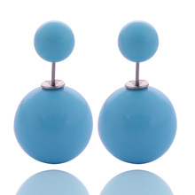 13 Colors New Arrival Classic Cheapest Solid Candy Colors Double Sides Big Pearl Earrings Cute Bead