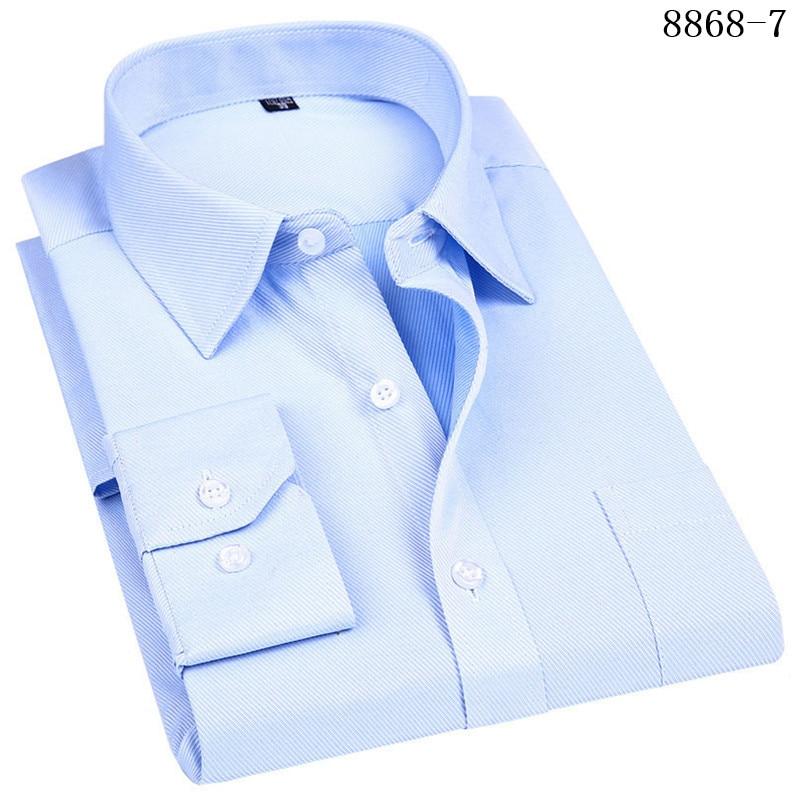 4XL 5XL 6XL 7XL 8XL Large Size Men's Business Casual Long Sleeved Shirt White Blue Black Smart Male Social Dress Shirt Plus 17