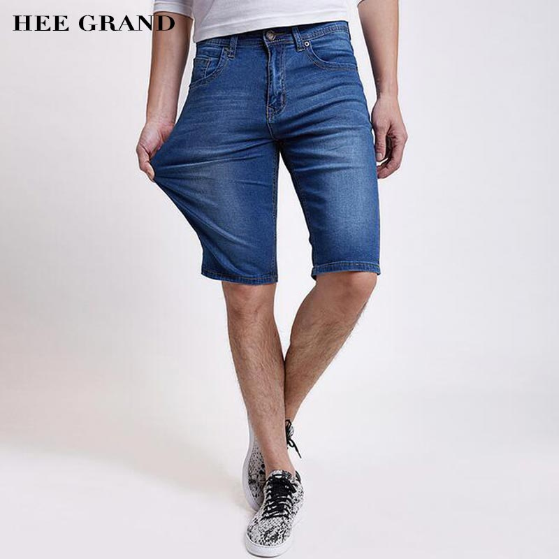 HEE GRAND Men Casual Demin Shorts 2017 New Summer Breathable Knee-length Fashion Loose Jean Shorts Plus Size 28-48 MKN922 hee grand men classic jeans 2017 new arrival straight design high elasticity slim fitted demin trousers plus size 28 42 mkn984