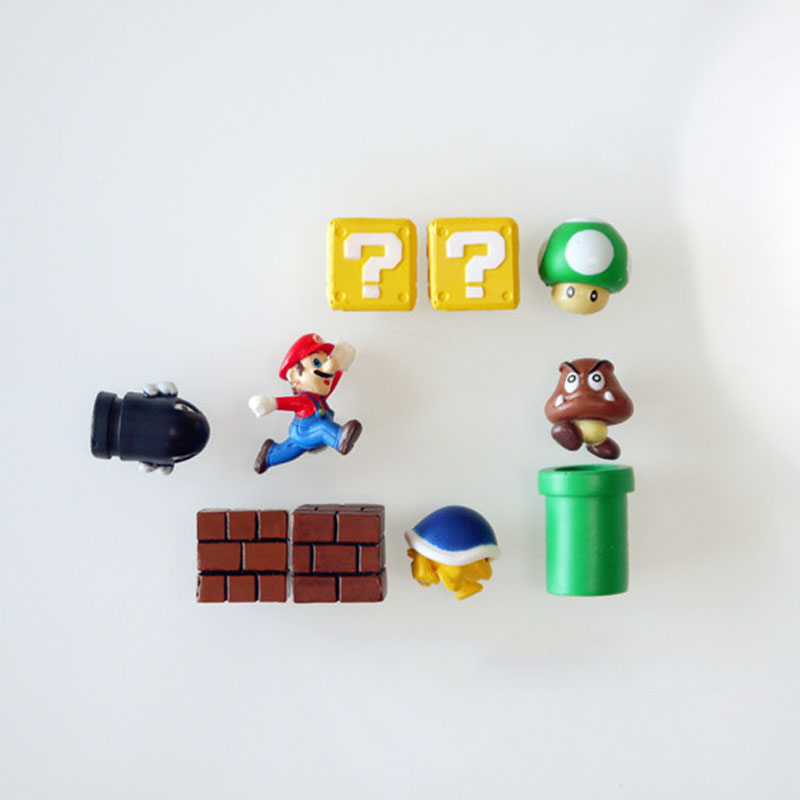10pcs Super Mario Bros Magnets Figure Toys Family Mario Bullet Mushroom Tortoise Stickers Refrigerator Action Figure Doll