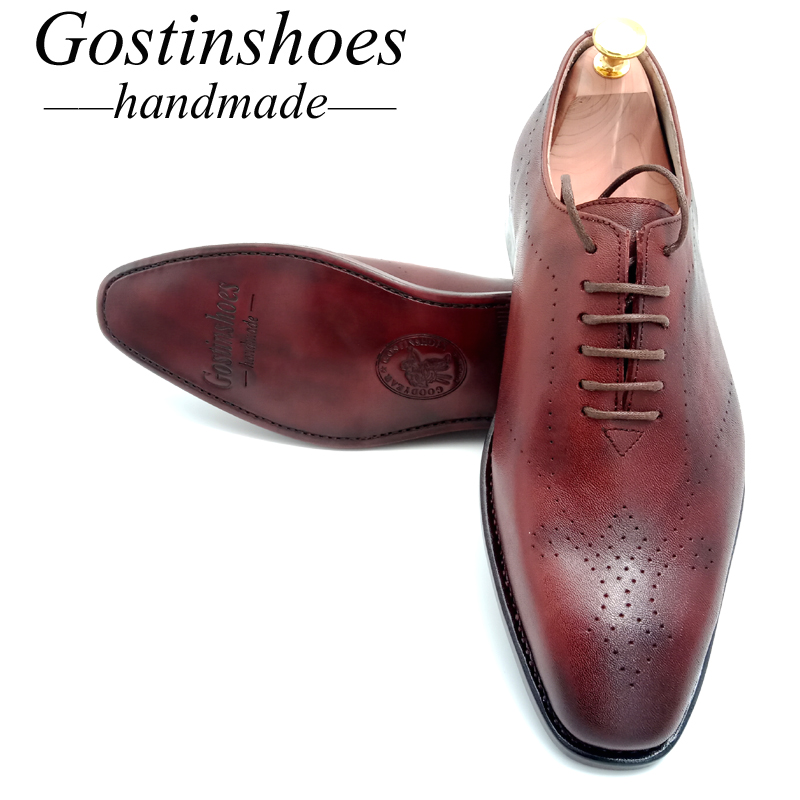 GOSTINSHOES HANDMADE Goodyear Welted Mens Dress Shoes Brown Genuine Leather Pointed Toe Lace-up GSTN013GOSTINSHOES HANDMADE Goodyear Welted Mens Dress Shoes Brown Genuine Leather Pointed Toe Lace-up GSTN013