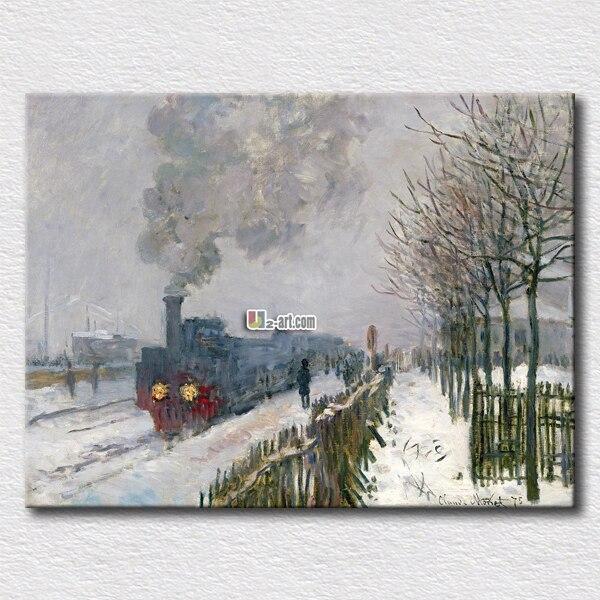 Peinture populaire train dans la neige Monet arts pour la