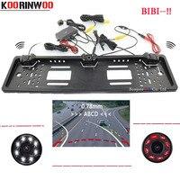 Koorinwoo-cámara de visión trasera Parktronic con trayectoria dinámica, marco de matrícula europea, Sensor de aparcamiento para coches, 8 luces, Radar de vídeo