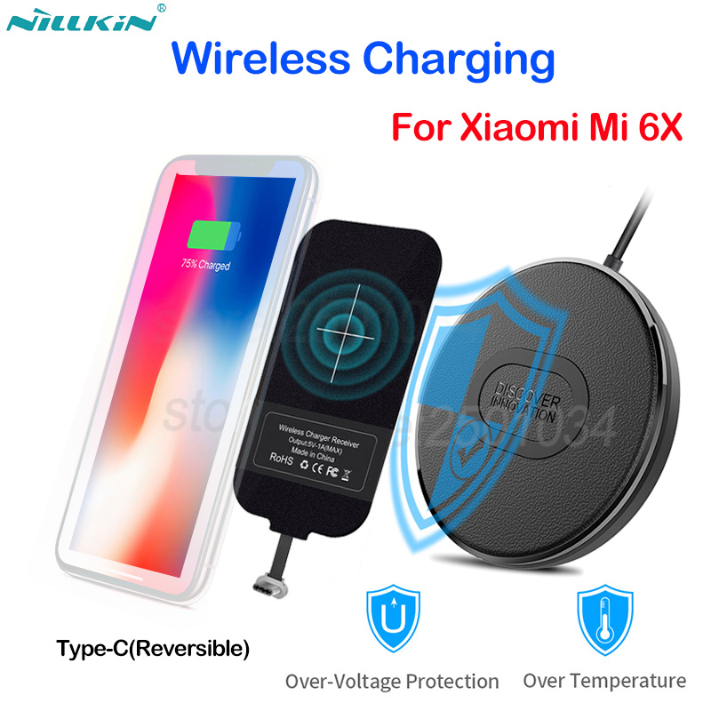 US $22 99 10% OFF|Nillkin Wireless Charging for Xiaomi Mi 6X A2 Small Qi  Fast Wireless Charger with Micro USB C Type C Charging Receiver Magic  Tag-in