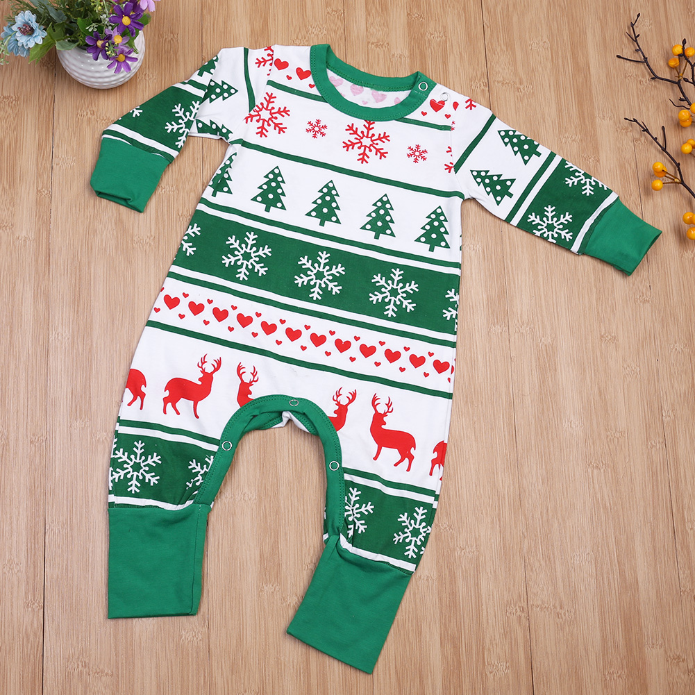 bf952f54ab6 Family Christmas Pajama Kids New Year Family Look Jumpsuit Baby Boys Girls  Snowflake Reindeer Christmas Tree Printed Long Sleeve-in Rompers from  Mother ...