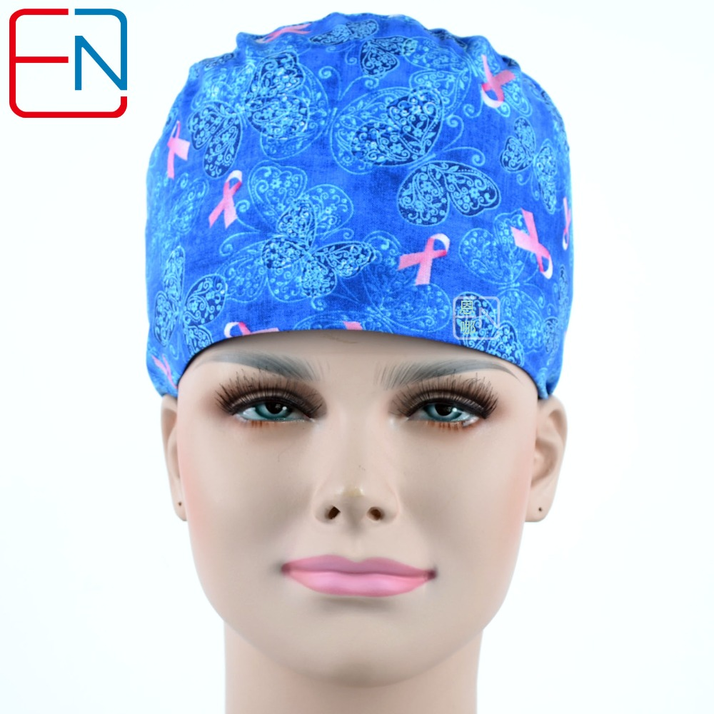 Hennar Women Cotton Surgical Caps Blue Print Hospital Medical Hats Masks High Quality Cotton Doctors Work Caps Masks For Women