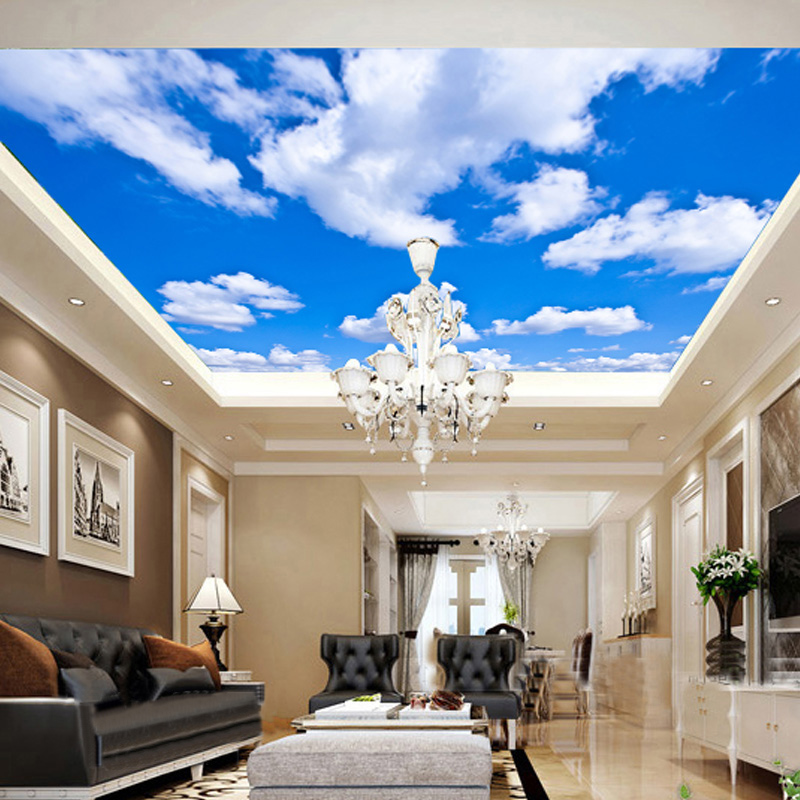Blue Sky And White Clouds Ceiling Mural Wallpaper Living Room Theme Hotel Ceiling Wall Cloth Modern Simple Backdrop Wallcovering