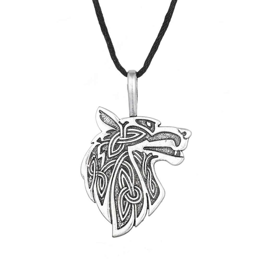Dawapara Viking Ketting Vos Triquetra Fenrir Dier Teen Wolf Ketting Mannen Mode-sieraden Hanger Supernatural Amulet Knoop
