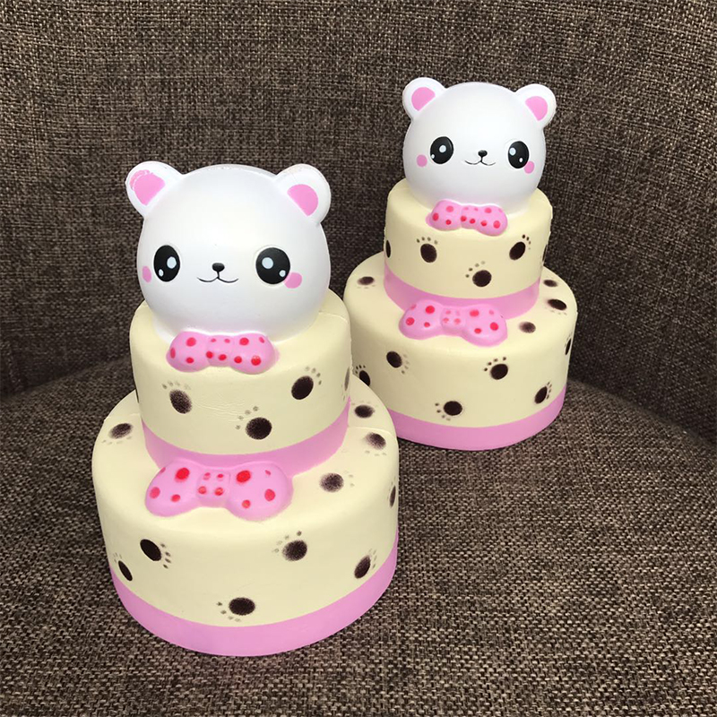 Kids Multi-layer Brithday Cake Squishy Toys 15Cm Cute Panda Multi-layer Cake Squeeze Toys Slow Rising Stress Reliever Toys