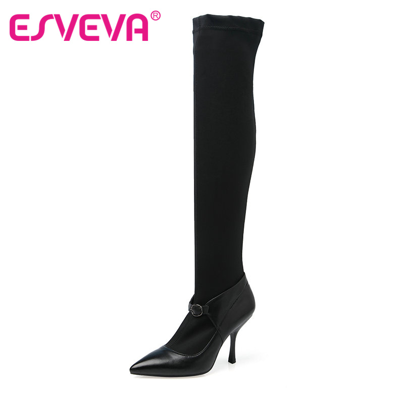 ФОТО ESVEVA Black Thin High Heel Woman Shoes Over The Knee Boots Pointed Toe Women Shoes Slip on Ladies Motorcycle Boots Size 34-39