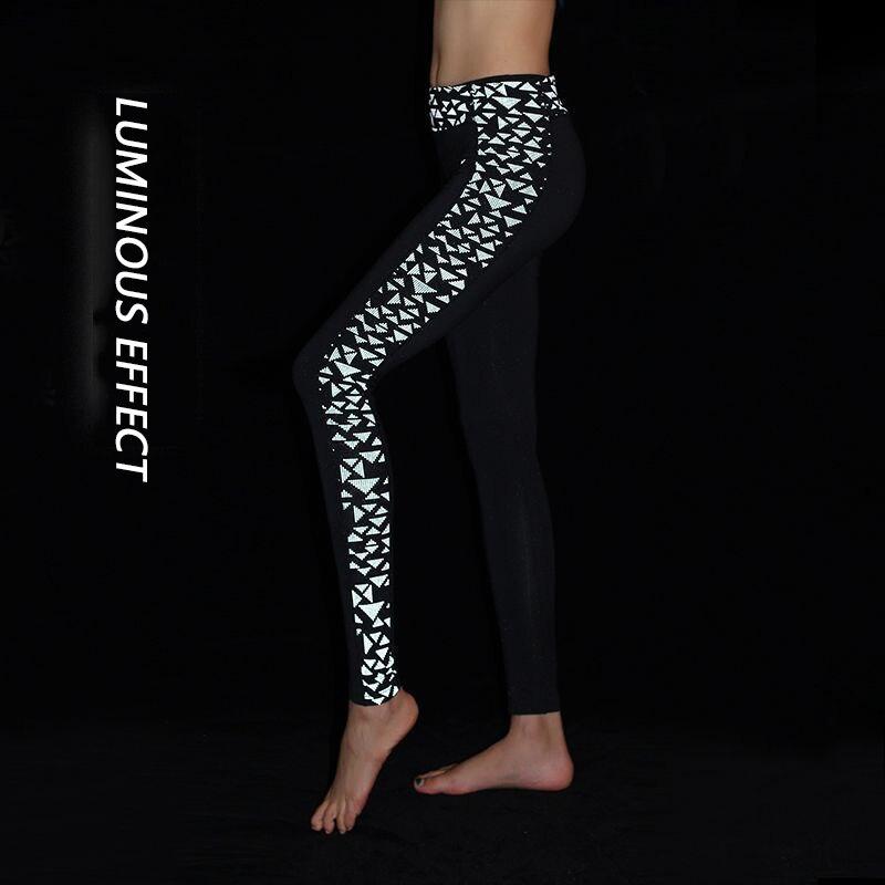 SOUTEAM Leggings Reflective Yoga Pants Women Yoga Pants High Elastic Fitness Leggings Tights Slim Running Sportswear