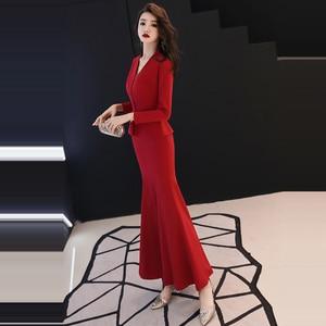 Image 3 - Resmi akşam elbise 2019 kırmızı v yaka uzun kollu Mermaid kat uzunluk müslüman kadınlar parti elbise artı boyutu Robe De Soiree e447