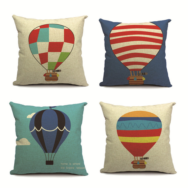 Fire Balloon Custom Printing Cushion Cover Super Soft Velvet Pillow Case Hot Air Balloons Pillows