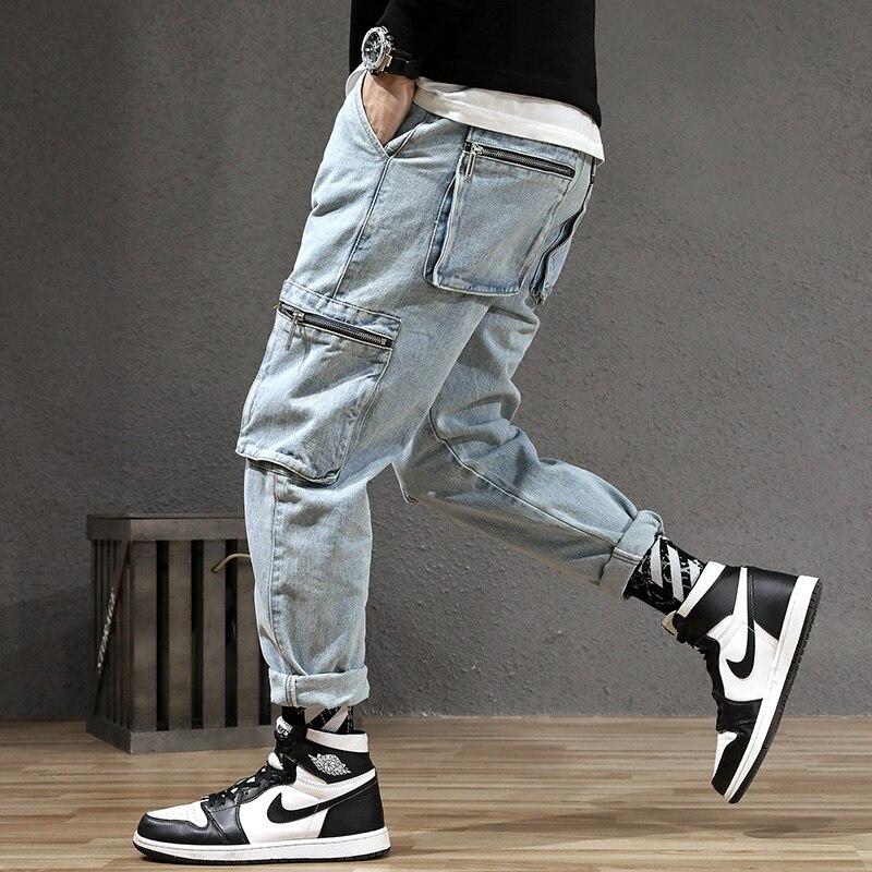 Japanese Style Fashion Men Jeans Vintage Designer Loose Fit Multi Pockets Denim Cargo Pants Streetwear Hip Hop Harem Jeans Men