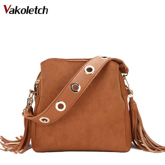 a9f888108f Brand Fashion Tassel Shoulder Bag Nubuck Leather Handbags Vintage Women  Messenger Bags Crossbody Daily Casual Women Bag KL260