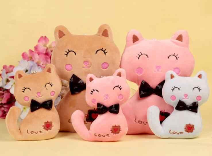 3 צבעים, קטן גודל 8CM חדש חתול בפלאש, בובת פרווה קיטי חתול מפתח שרשרת צעצוע, ילד של המפלגה בפלאש צעצוע, זר בפלאש בובות