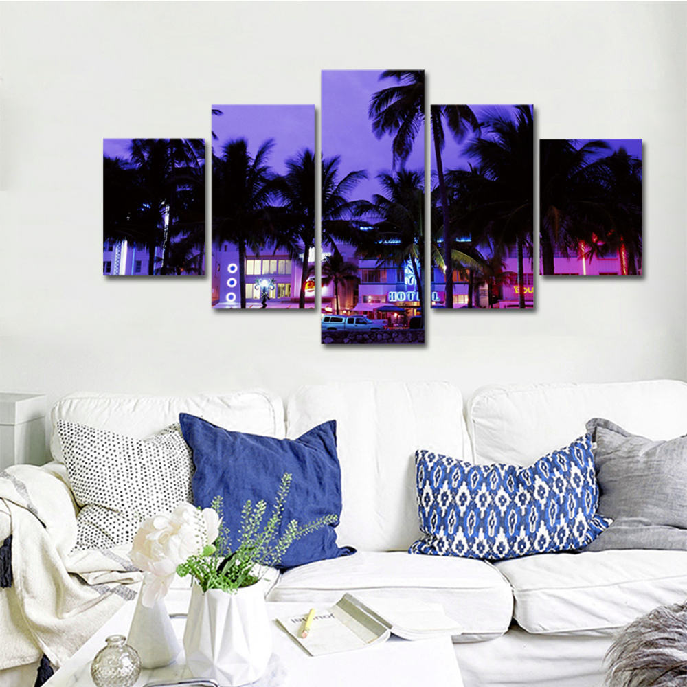 Unframed Canvas Painting House Lighting Coconut Tree Landscape Photo Prints Wall Pictures For Living Room Wall Art Decoration