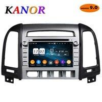 KANOR 1024*600 Восьмиядерный 4G Android 9,0 2din автомобильный Радио DVD gps для hyundai Santa Fe 2006 2012 головное устройство радио Cessette рекордер