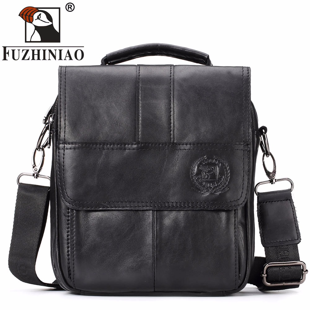 FUZHINIAO Men Messenger Bags Genuine Leather Men's Bag Flap Small Ipad Classic Shoulder Handbags Black Crossbody Bags for Mele hot 2017 genuine leather bags men high quality messenger bags small travel black crossbody shoulder bag for men li 1611