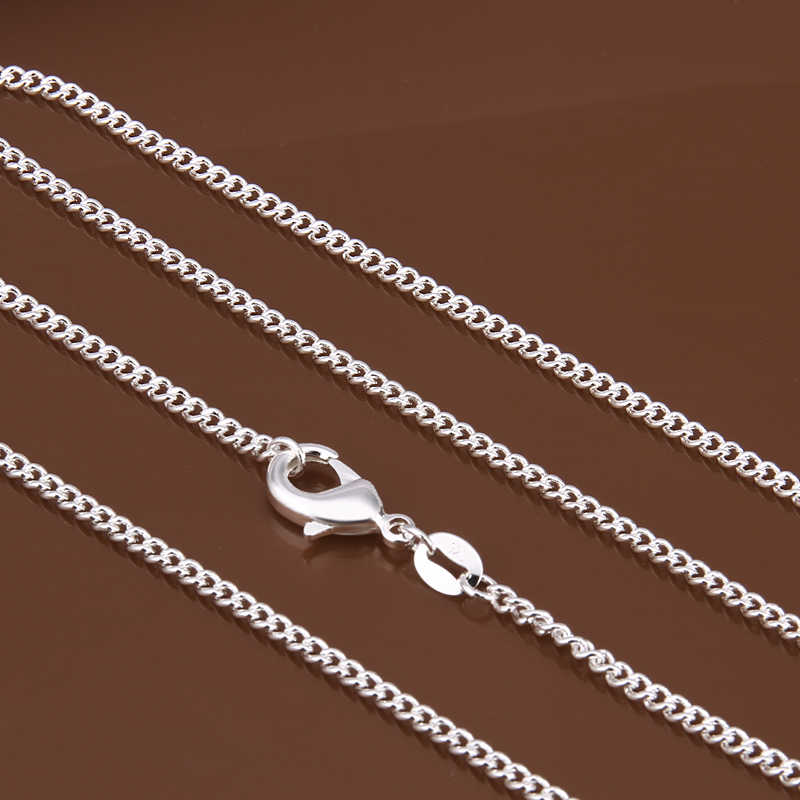 "Women's 2mm side chain 925 stamped silver plated 16""18""20""22""24"" Short Long Fit Charms necklaces gift bag C015"
