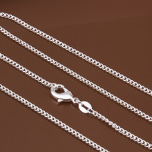 "Women's 2mm side chain 925 stamped silver plated 16""18""20""22""24"" Short Long Fit Charms necklaces gift bag C015(China)"