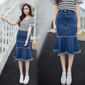 Verão 2017 moda de cintura alta mulheres de longo denim saia sereia ocasional plus size maxi saias jeans azul da cor do vintage aw370