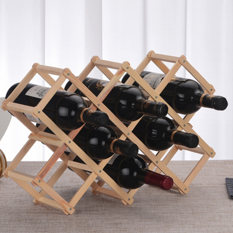 Newest Wood Folding Wine Whisky Holder In Bottle Kitchen BarStorage Exhibitor Solid Wood Creative Folding Wine Rack in Wine Racks from Home Garden