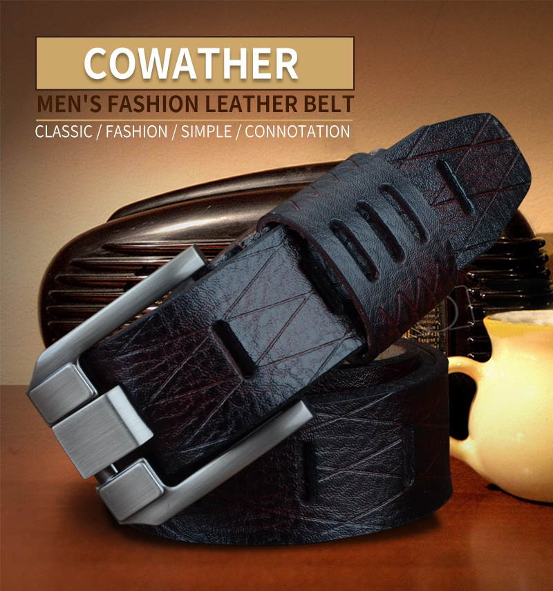 COWATHER 2017 QUALITY cow genuine luxury leather men belts for men strap male pin buckle BIG SIZE 100-130cm 3.8 width QSK001 5